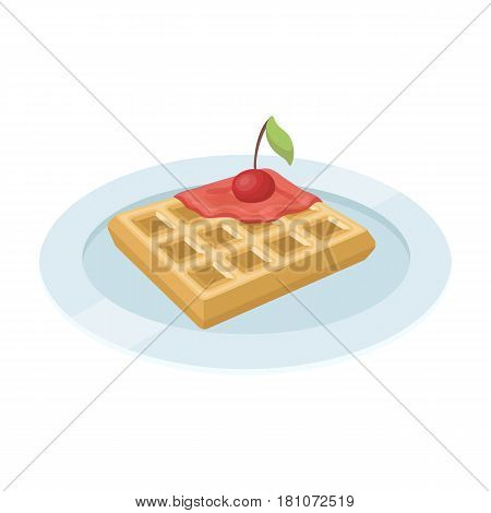 Wafers with cherry syrup on a plate.The dark Belgian wolf. Belgium single icon in cartoon style vector symbol stock web illustration.