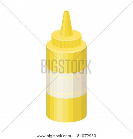 Bottle with mustard.Burgers and ingredients single icon in cartoon style vector symbol stock web illustration.