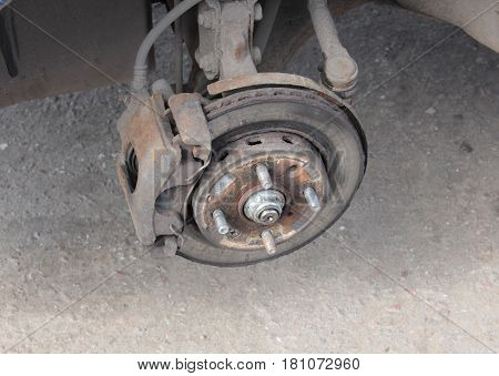 old rusty brake disc on the old car