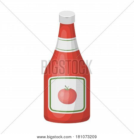 Bottle of ketchup.Burgers and ingredients single icon in cartoon style vector symbol stock web illustration.