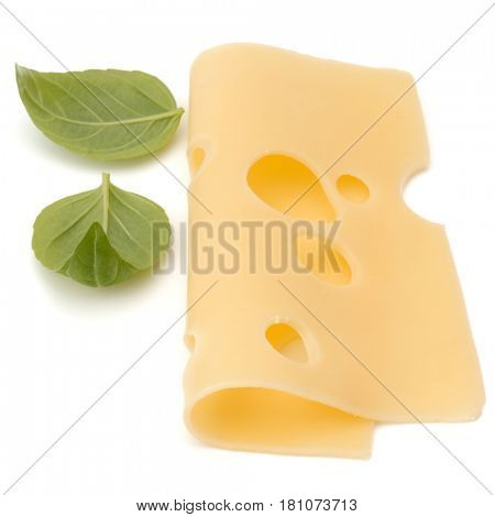 Cheese and basil leaves isolated on white background