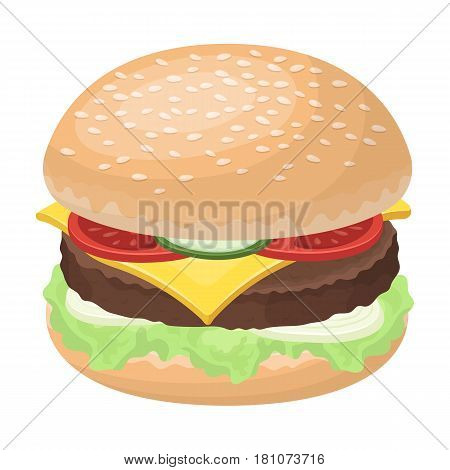 Ready burger with all the ingredients.Burgers and ingredients single icon in cartoon style vector symbol stock web illustration.