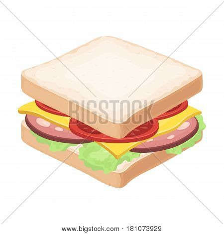 A sandwich with bread and sausage.Burgers and ingredients single icon in cartoon style vector symbol stock web illustration.