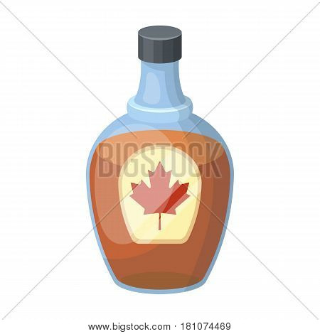 Canadian maple syrup in a bottle. Canada single icon in cartoon style vector symbol stock illustration .