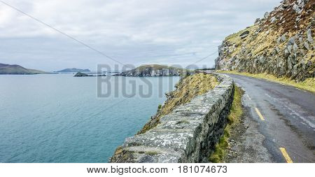 Single trck road at the end of Dingle Peninsula, Ireland
