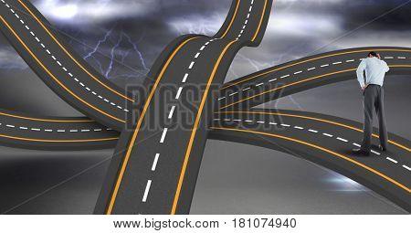 Digital composite of Digital composite image of businessman standing on wavy road in sky
