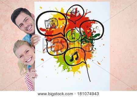 Digital composite of Digital composite image of couple holding bill board with chat bubbles and technologies drawn on it