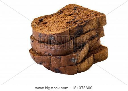 Sliced chocolate breads isolated on white background and clipping path