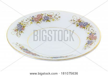 White saucer with flower patern isolated on white background