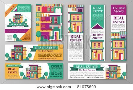 House real estate flyer, the best agency paper advertisement, apartments to buy or sell, brochure collection, vector flat style illustration with copyspace