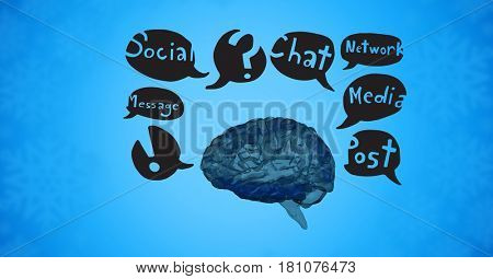 Digital composite of Digital composite image of brain with speech bubbles