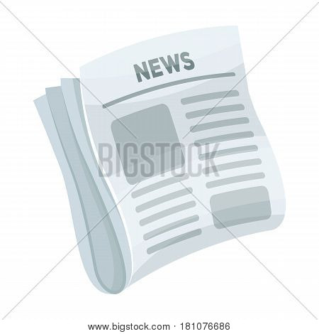 Newspaper, news.Paper, for the cover of a detective who is investigating the case.Detective single icon in cartoon style vector symbol stock web illustration.