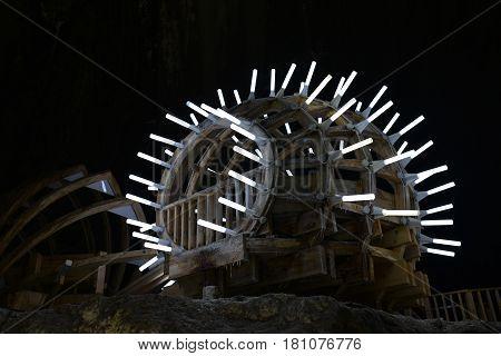 Turda Romania salt mine wood and neon light pavilion