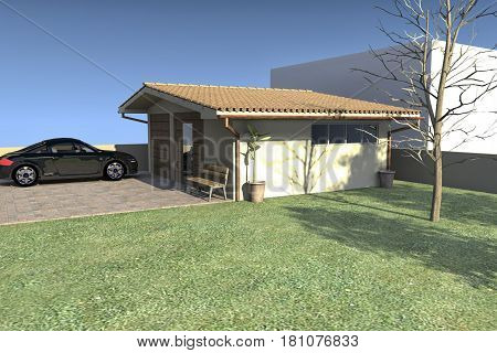 Rendering of a project of a outbuilding