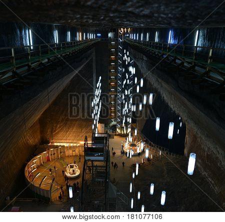 TURDA, ROMANIA - 04.04.2017: underground salt mine touristic attraction landmark