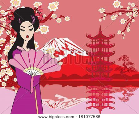 Card with Asian buildings and Mount Fuji , vector illustration