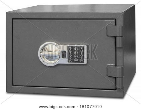 Security metal safe with digital code isolated on white background
