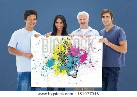Digital composite of Men and woman holding bill board with light bulb drawn on it