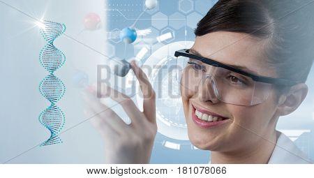 Digital composite of Scientist wearing protective eyewear