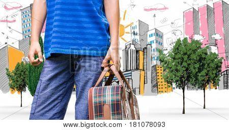 Digital composite of Digital composite image of traveler carrying bag in city