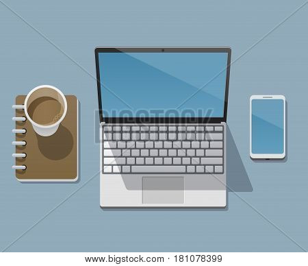 Workplace Of A Businessman, Programmer, Designer Or Freelancer With A Laptop, Workbook, Smartphone A