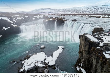 Famous Godafoss Waterfall, North Of The Island