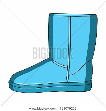 Warm winter blue ugg boots. Comfortable winter shoes for everyday wear .Different shoes single icon in cartoon style vector symbol stock web illustration.