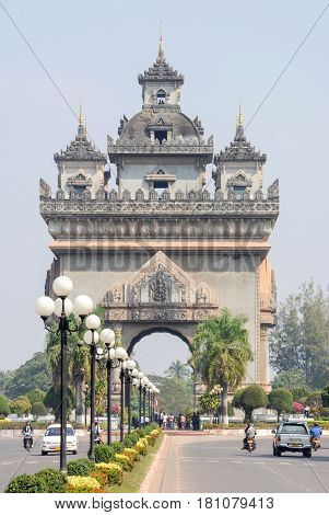 Patuxai Is A War Monument In The Centre Of Vientiane