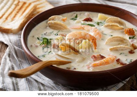 American Milk Clam Chowder Soup Close-up On A In A Bowl. Horizontal
