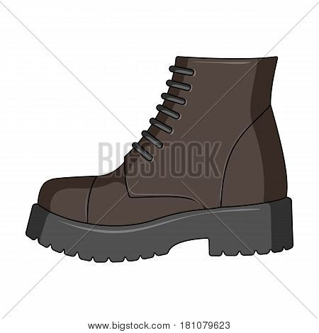 Men brown shoes with thick soles. Shoes for nonconformists.Different shoes single icon in cartoon style vector symbol stock web illustration.