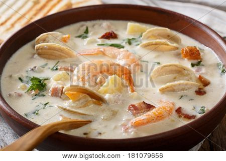 American Cuisine: New England Clam Chowder Soup Macro. Horizontal