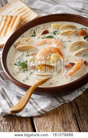 New England Clam Chowder Soup Close-up. Vertical