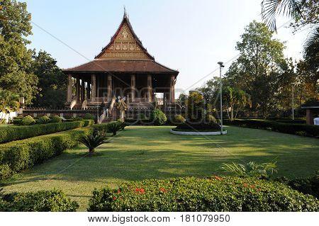 Vientiane, Laos - 18 January 2012: Wat Ho Phra Keo pagoda in Vientiane