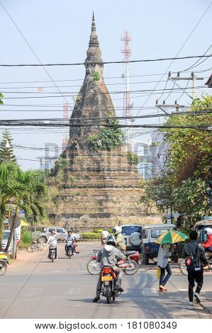 That Dam Old Pagoda In Vientiane, Laos