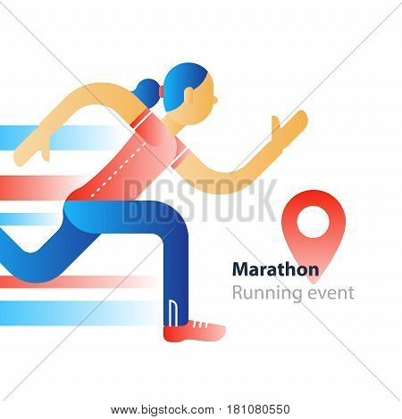 Marathon event, running sport race, person in motion, triathlon athlete woman, abstract cartoon, vector flat design illustration
