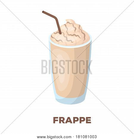 A glass of frappe.Different types of coffee single icon in cartoon style vector symbol stock illustration .
