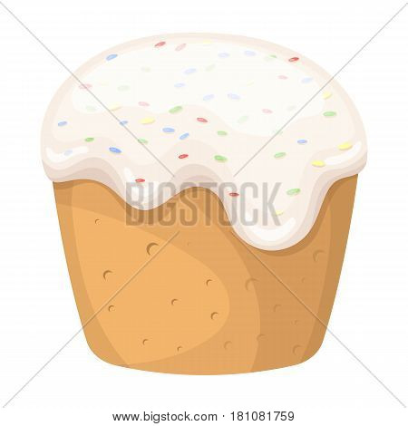 Cake with white fondant. Easter single icon in cartoon style vector symbol web stock illustration.