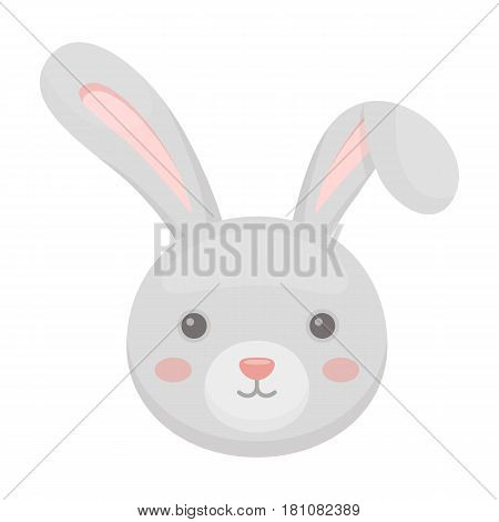 Grey rabbit with long ears. Easter single icon in cartoon style vector symbol stock web illustration.