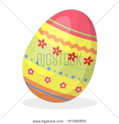 Dyed patterns egg for Easter. Easter single icon in cartoon style vector symbol stock web illustration.