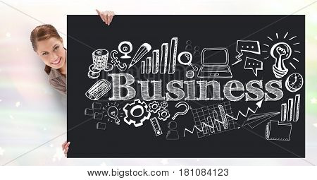 Digital composite of Digital composite image of businesswoman holding bill board with business text and icons
