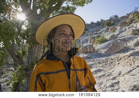 African woman hiking in wilderness
