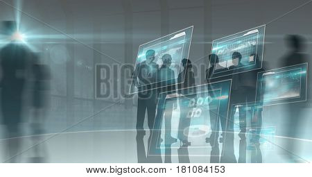Digital composite of Digital composite image of business people and virtual screen