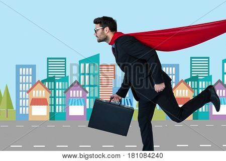 Digital composite of Digital composite image of businessman in super hero costume running in city