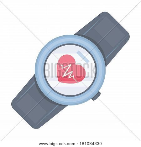 Sports wrist watch with heart rate measurement. Watch for athletes .Gym And Workout single icon in cartoon style vector symbol stock web illustration.