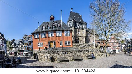 People Visit Scenic Half Timbered Houses And Famous Hexenturm In Idstein