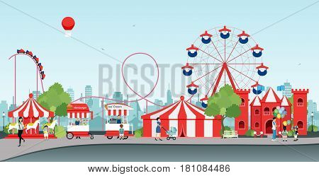 Amusement park with Ferris wheel and balloon