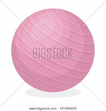 Pink rubber bouncy ball for exercises . Fitball for fitness.Gym And Workout single icon in cartoon style vector symbol stock web illustration.