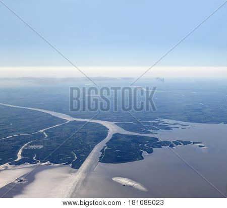 Aerial view of Rio de la Plata (River of Silver in English). The Río de la Plata is the estuary formed by the confluence of the Uruguay River and the Paraná River on the border between Argentina and Uruguay.