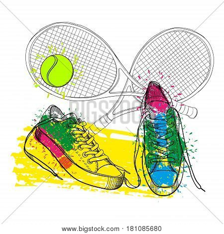Vector illustraton of drawing isolated objects colorful sneakers withtennis racquet and ball. Hand drawn and doodle footwear for logo.