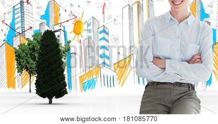 Digital composite of Digital composite image of businesswoman with arms crossed in city
